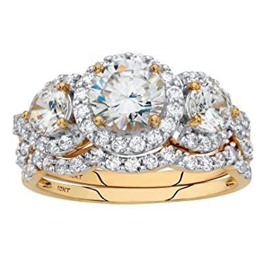 Amazon.com: 10 K Amarillo Oro 2 pieza redonda color blanco ...