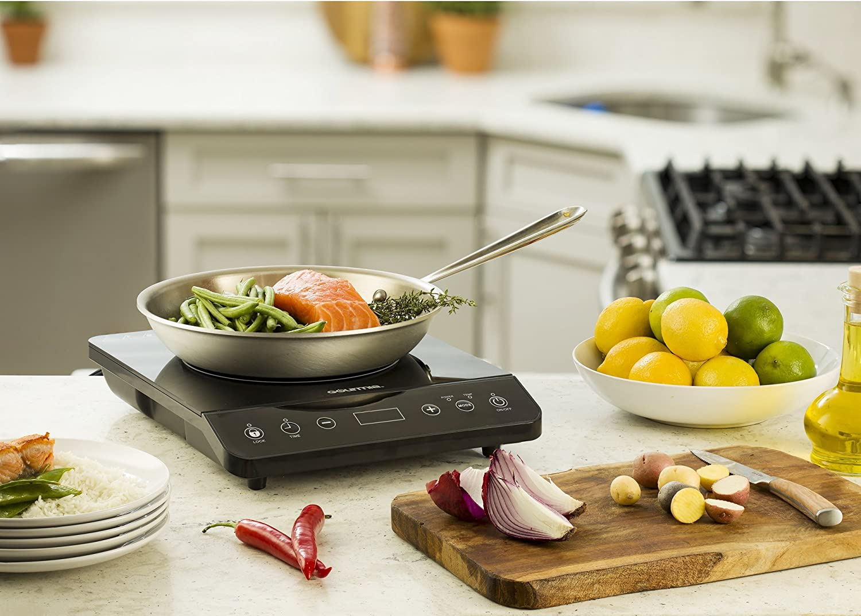 Gourmia GIC100 Multifunction Portable Induction Cooker Timer Temperature /& 8 Power Level Controls Cooktop Countertop Burner SmartSense Auto Detection 1800W GIC-100