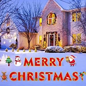 Zamy Merry Christmas Yard Sign with Stakes, 19PCS Xmas Letters with Santa Claus, Snowman and Candy Cane for Outdoor Christmas Decorations