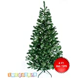 The Twiddlers Premium Compact Artificial Green Christmas Tree 4FT / 120CM with 260 Tips/Branches - includes Solid Metal Stand