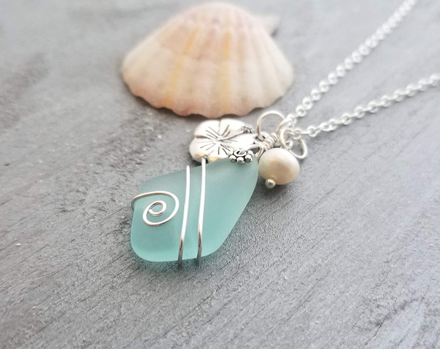 HIbiscus Freshwater Pearl Hawaii Gift Wrapped, Customizable Gift Message Wire wrapped Aqua sea glass necklace,March Birthstone Handmade in Hawaii