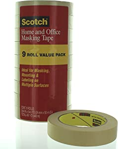 Scotch Home and Office Masking Tape, 0.94 Inch x 54.6 Yards, 9 Rolls (3437-9PK)