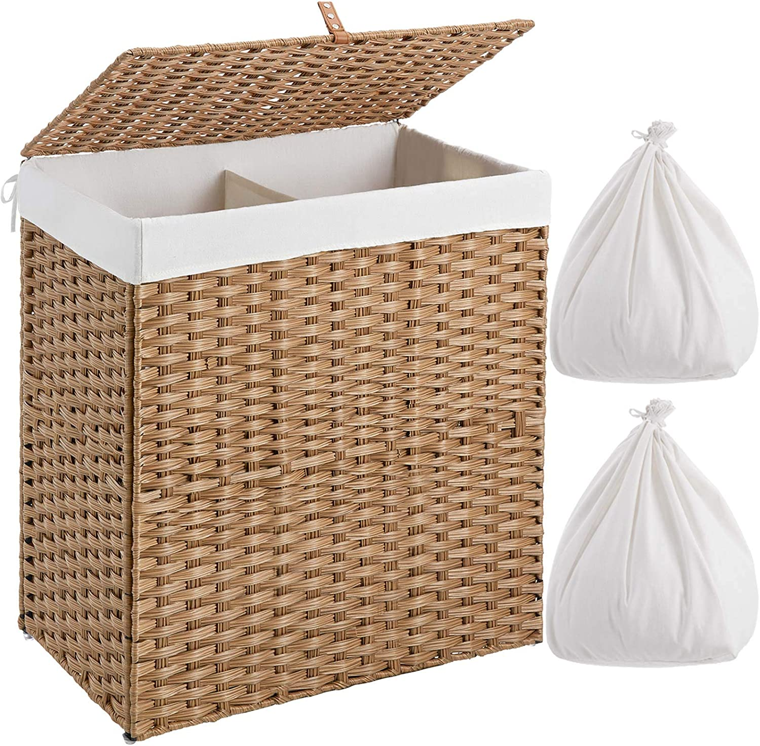 Greenstell Laundry Hamper with 2 Removable Liner Bags, Divided Clothes Hamper, 110L Handwoven Synthetic Rattan Laundry Basket with Lid and Handles, Foldable & Easy to Install Natural (22x12x24 Inches)
