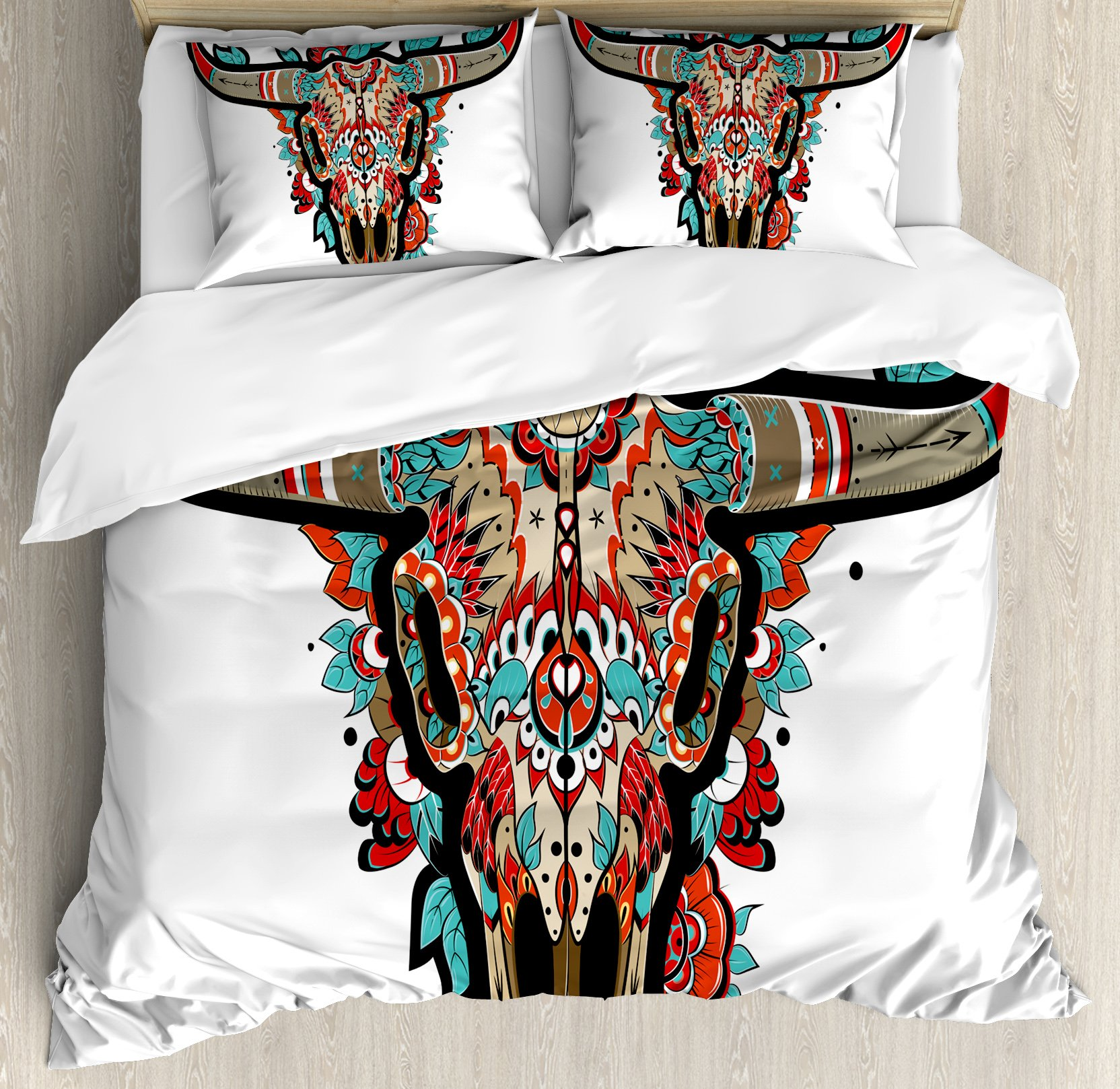Western Duvet Cover Set Queen Size by Ambesonne, Buffalo Sugar Mexican Skull Colorful Ornate Design Horned Animal Trophy, Decorative 3 Piece Bedding Set with 2 Pillow Shams, Turquoise Red Taupe