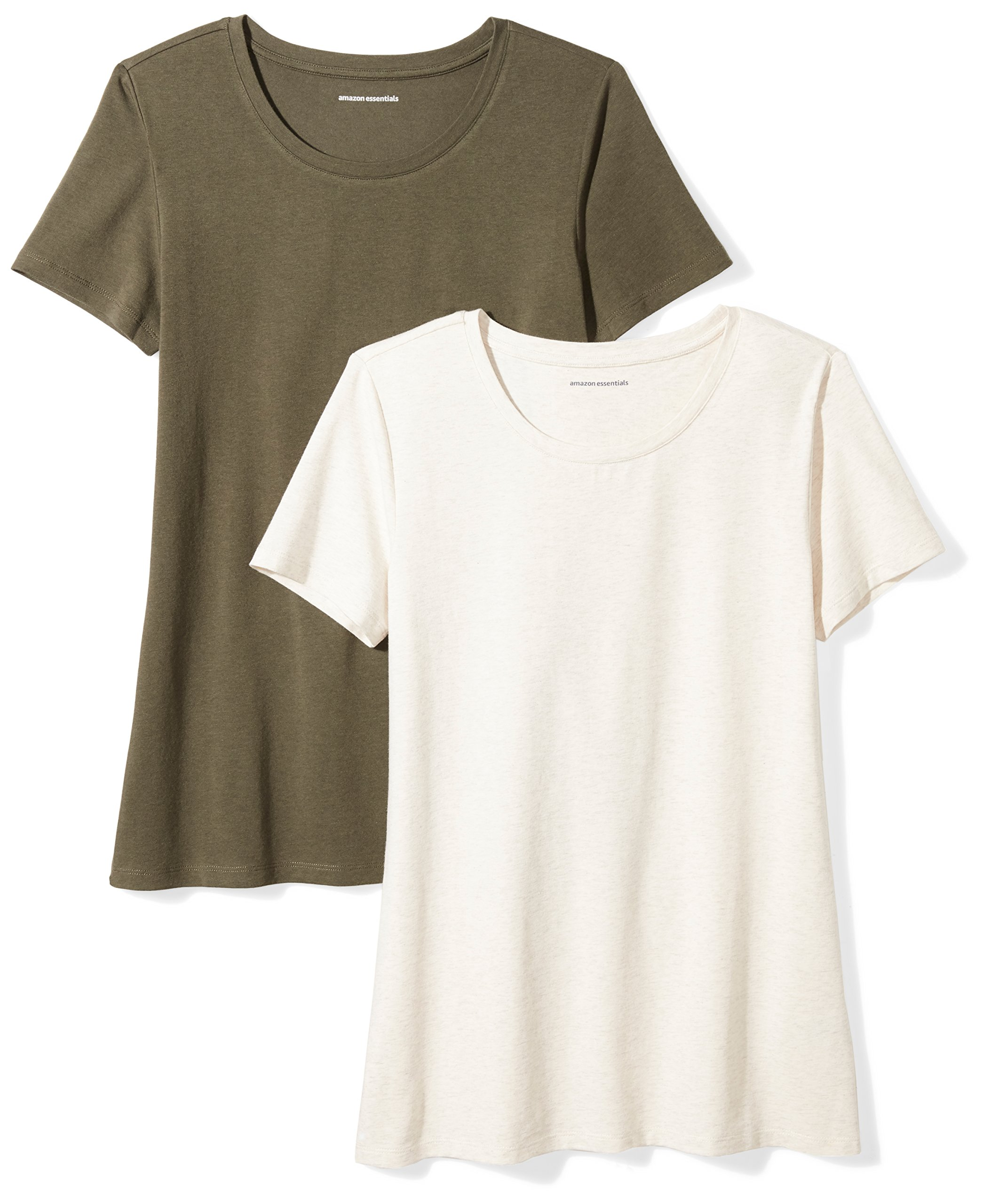 Amazon Essentials Women's 2-Pack Short-Sleeve Crewneck Solid T-Shirt, Olive/Oatmeal Heather, XX-Large