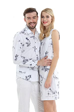 6115c588 Couple Matching Hawaiian Luau Cruise Outfit Shirt Dress Classic White:  Amazon.co.uk: Clothing