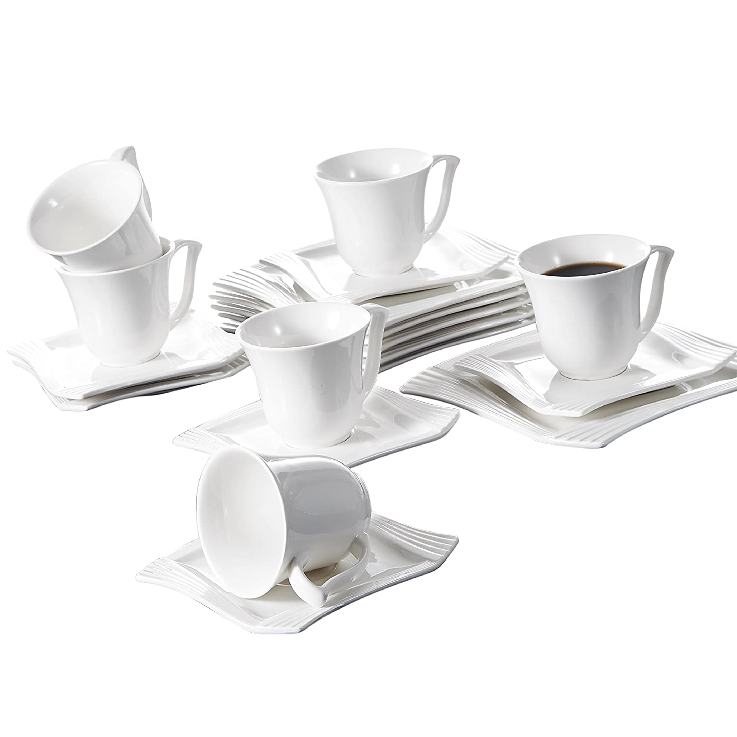 Malacasa, Series Amparo, Ivory White Porcelain Afternoon Tea Set, 18-Piece Ceramic Coffee Serving Set of Cups, Saucers and Plates for 6 AMPARO-18
