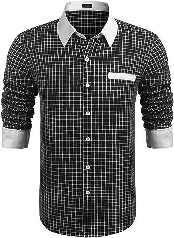 COOFANDY Camiseta de manga larga para hombre, corte regular, básica, informal, cuello Kent, algodón, informal, fiesta, básica, a cuadros