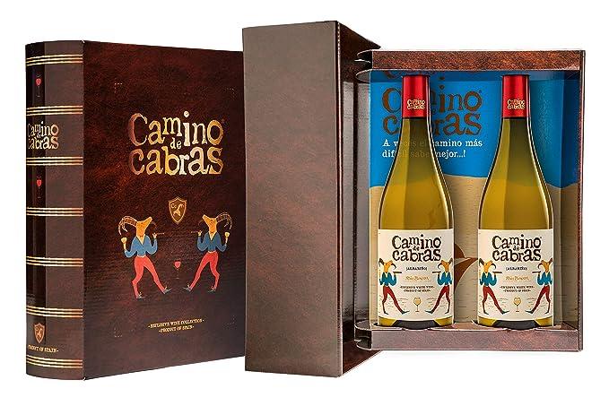 CAMINO DE CABRAS Estuche regalo - vino blanco - Albariño Rias Baixas - Producto Gourmet - Vino bueno para regalo - 2 botellas x 75cl
