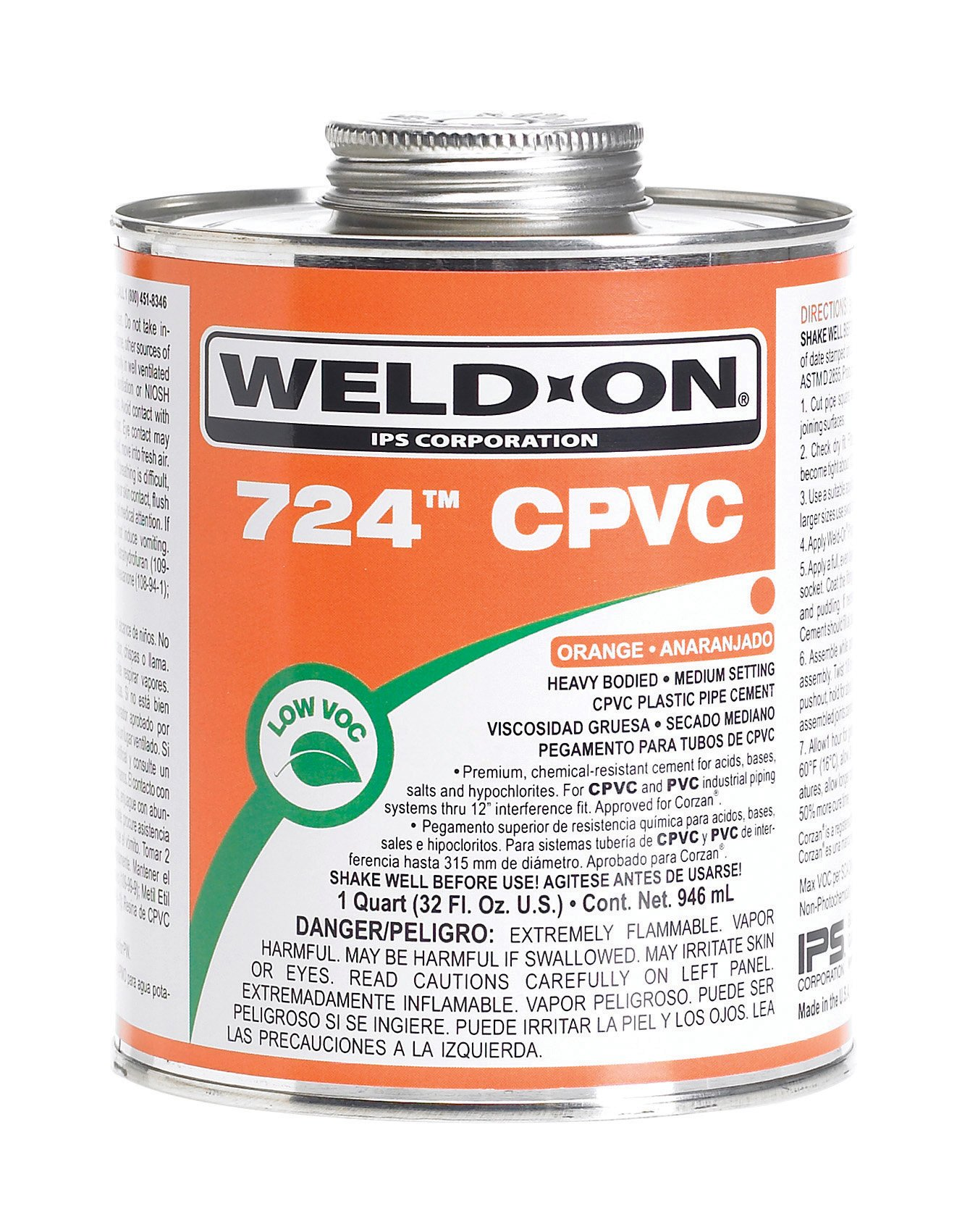 Weld-On 724 CPVC Professional Industrial-Grade, Heavy-Bodied, Medium-Setting, Low-VOC, 1 Quart Can with Applicator Cap, Orange