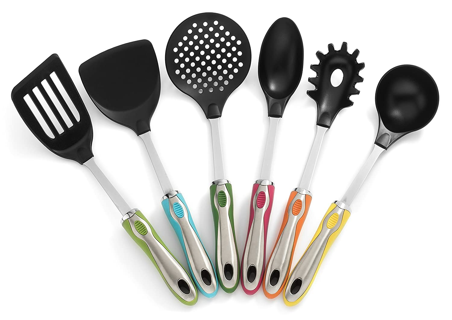Amazon.com: Kitchen Utensils With Holder 7 Pc Cute Utensil Set   Colorful  Handles, Stainless Steel Core And Large Nylon Heads By RSG: Kitchen U0026 Dining