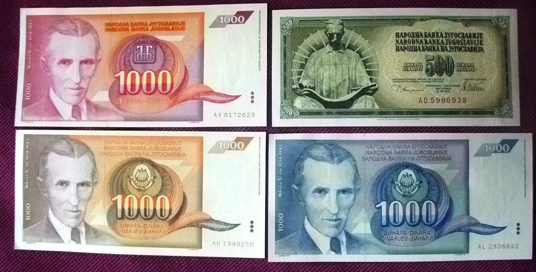 YUGOSLAVIA BANKNOTE 1992 NIKOLA TESLA 1000 DINARA FREE SHIPPING