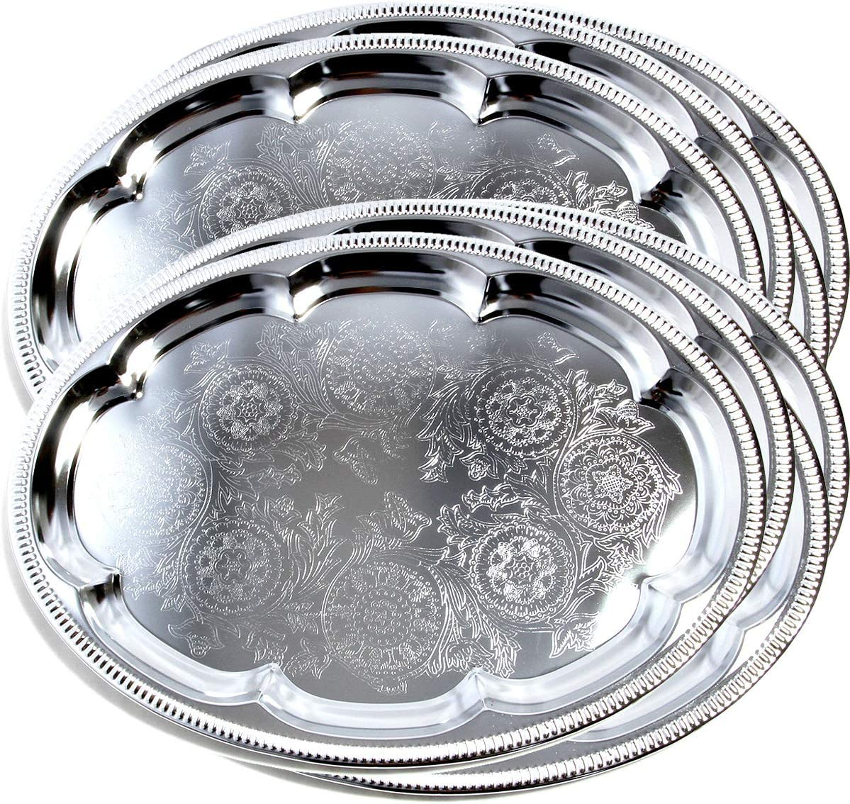 Maro Megastore (Pack of 8) 12-Inch x 9-Inch Traditional Oval Floral Pattern Engraved Catering Chrome Plated Serving Plate Mirror Tray Platter Tableware Christmas Party Gift Base Decor(Small) T225s-8pk