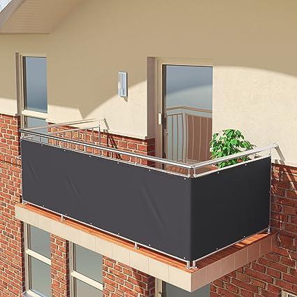 Imagen dePantalla de balcón premium de Balconio, x cm, impermeable, pantalla para balcón para tener privacidad, con cierre de cuerda incluido, poliéster, antracita, 450 x 85 cm