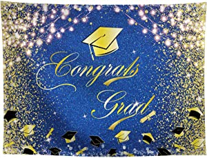 Allenjoy 10x8ft Congrats Grad Backdrop Class of 2021 Glitter Gold and Royal Blue Graduation Cap Photography Background for Celebration Prom Party Decor Congratulation Banner Photo Booth Studio Props