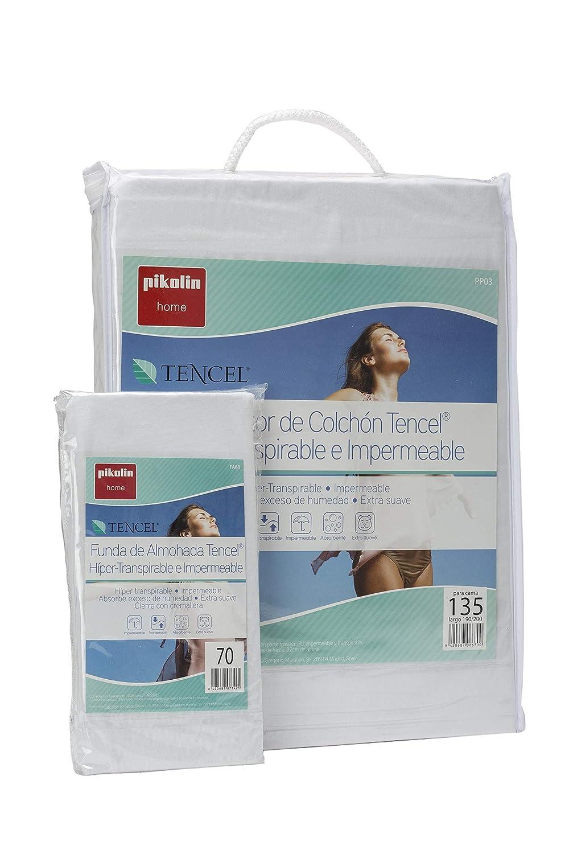 Pikolin Home - Set híper-transpirable e impermeable con protector de colchón (90x190/200cm) y funda de almohada (40x90cm) (Todas las medidas): Amazon.es: ...