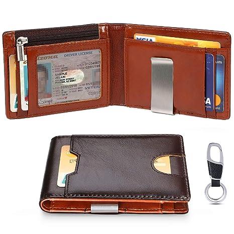 flintronic Cartera Hombre, Slim Billetera de Piel Auténtica para Tarjetas de Crédito, Monedero con Pinza y Protección RFID, con Llavero y Caja de ...