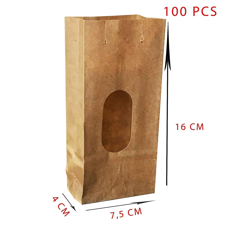 7,5 * 4 * 16 cm 100pcs Sacchetto di Carta Kraft Fast Pack 100/% riciclabile