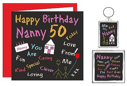 Nanny 50th feliz cumpleaños Set de regalo tarjeta ...