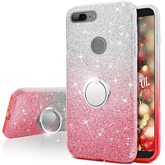 newest 093e0 2a882 OnePlus 5T Case, Silverback Girls Bling Glitter Sparkle Case With 360  Rotating Ring Stand, Soft TPU Outer Cover + Hard PC Inner Shell Skin for  OnePlus ...