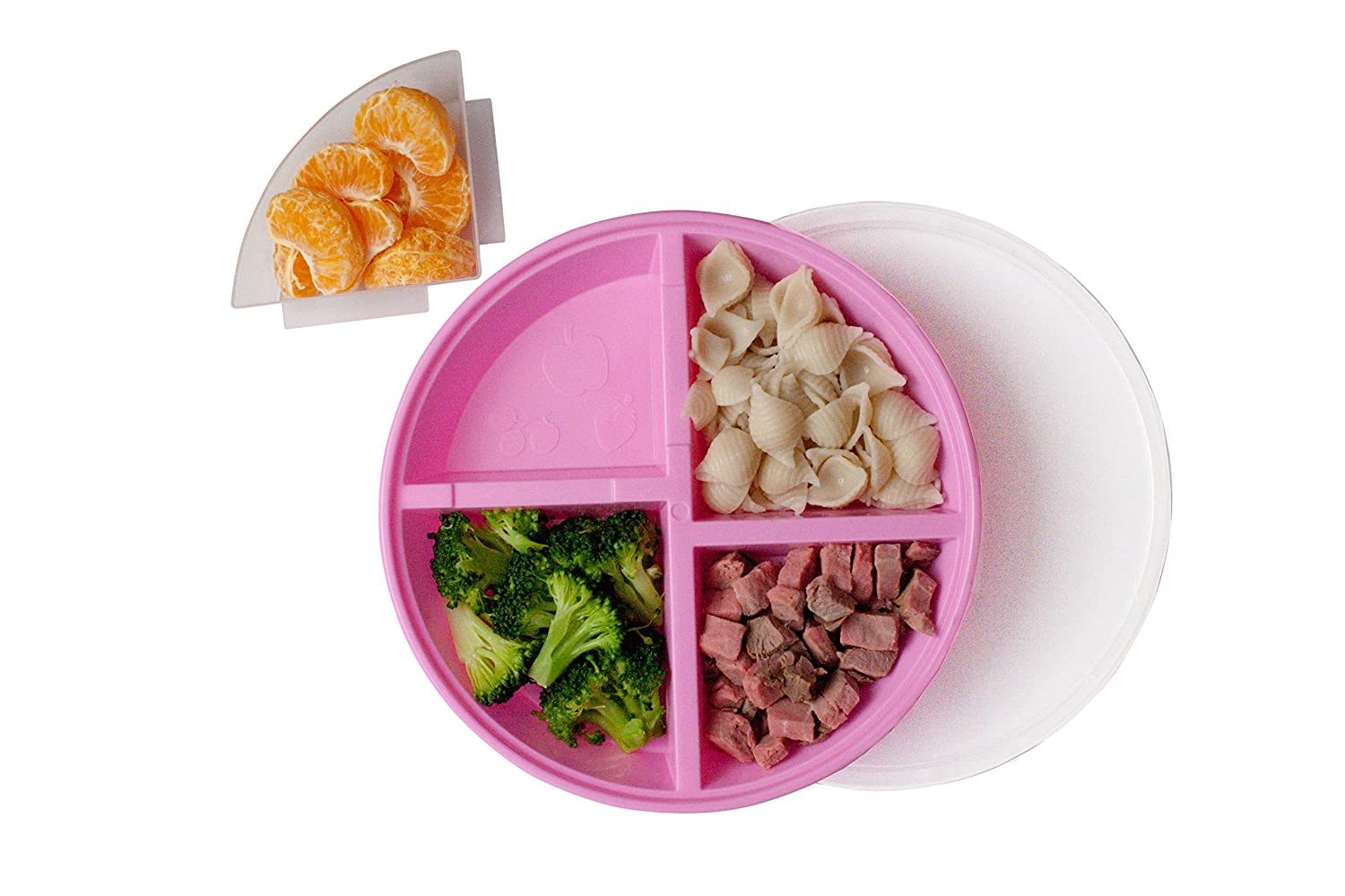 Nalaire Toddler Divided Plate with Lid - 2 Pack … (Pink/Yellow)