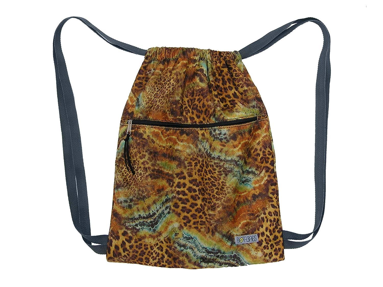 Mochila saco de tela leopardo, Mochila mujer de cintas: Amazon.es ...
