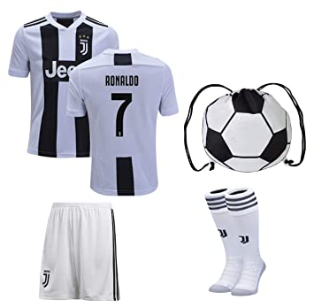 sale retailer afe82 ee947 JerzeHero Juventus Ronaldo #7 Youth Kids Soccer Jersey 4 in 1 Gift Set ✓  Soccer Jersey ✓ Shorts ✓ Socks ✓ Drawstring Bag ✓ Home or Away