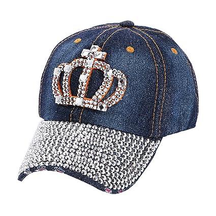 cd47d5a44835f Amazon.com   LKXHarleya Women Bling Rhinestone Crown Baseball Hats Vintage  Distressed Washed Cotton Denim Hat Men Adjustable Baseball Caps Trucker    Sports ...
