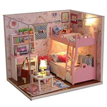Cuteroom Wood Dollhouse Miniature Kit DIY Doll House Room With Furniture Cover Toy Artwork Gift