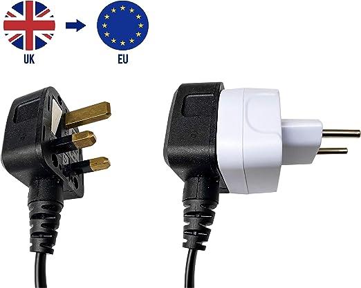 Espagne Portugal Gr/èce France Pays-Bas AmpTech Lot de 2 adaptateurs UK vers EU Europe Europe Adaptateur convertisseur pour Allemagne Italie Turquie et Plus