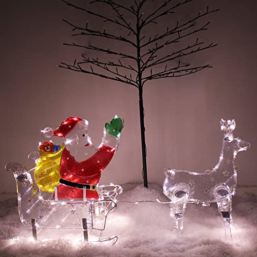 PreLit Rope LED Light Decorated 3D Large Reindeer Silhouette Christmas Decor New