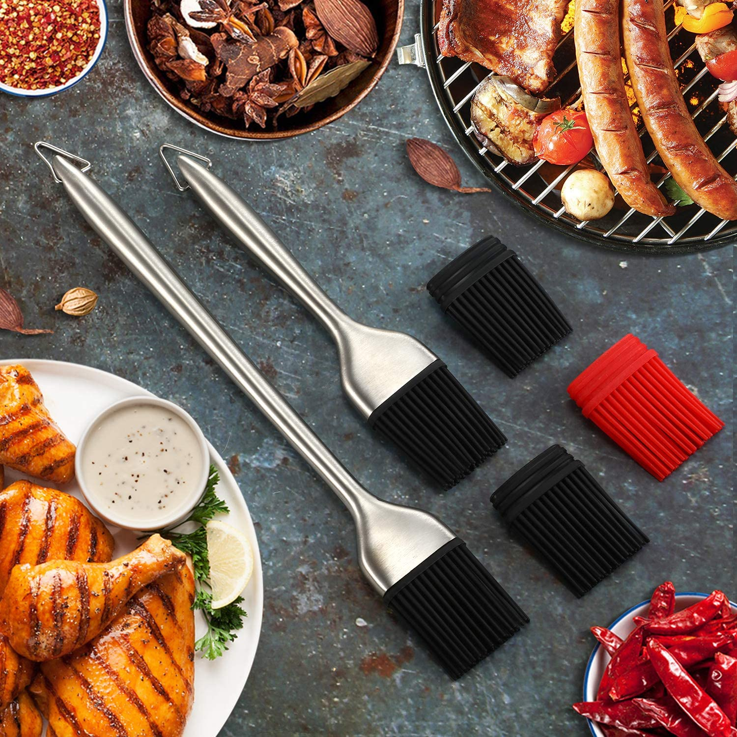 8 Pieces Stainless Steel Replaceable Basting Pastry Brush Set Dough Scraper Duty Cooking Oil Butter Sauce Turkey Baster for Marinades BBQ Utensil Desserts Grilling Brush