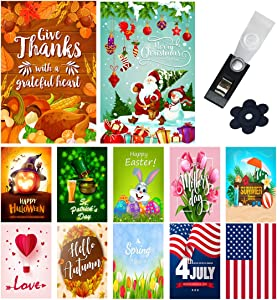 Yileqi Seasonal Garden Flags Set of 12 Double Sided 12.5x18 Inches Christmas Thanksgiving Garden Flag for Outdoor Decoration Holiday Lawn Yard Flags, Festive Small Garden Flag with Zipper Storage Bag