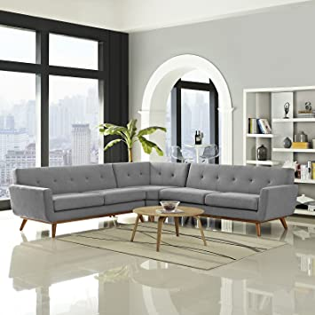 modway engage midcentury modern upholstered fabric lshaped sectional sofa in expectation gray - L Shaped Sectional