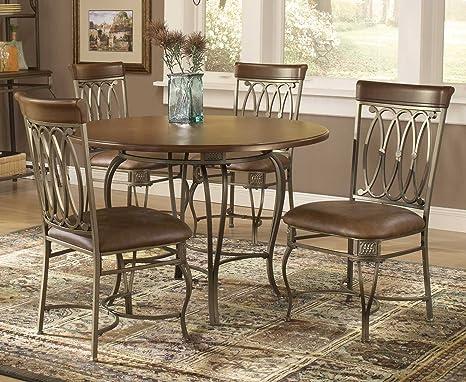 Hillsdale Montello Round 36 Inch Diameter 3 Piece Table Dining Set, Old  Steel