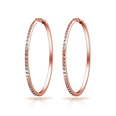 eee3bbf55 Rose Gold 50mm Hoop Earrings with Crystals from Swarovski: Amazon.co.uk:  Jewellery