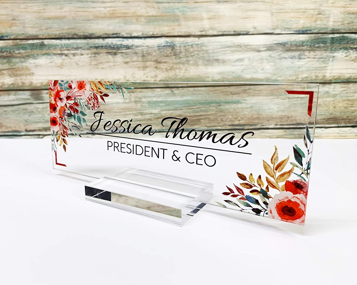 Personalized Desk Name Plate for Office Sign Modern Office Women Decor Home Desk Name Plate Teacher Desk Name Sign Holder Red Flower - (8