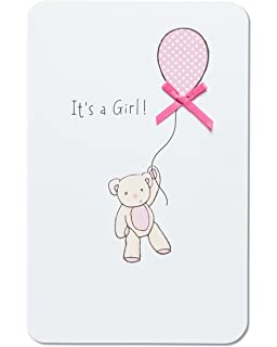Amazon american greetings little girl new baby congratulations american greetings bear with balloon new baby girl congratulations card with ribbon m4hsunfo