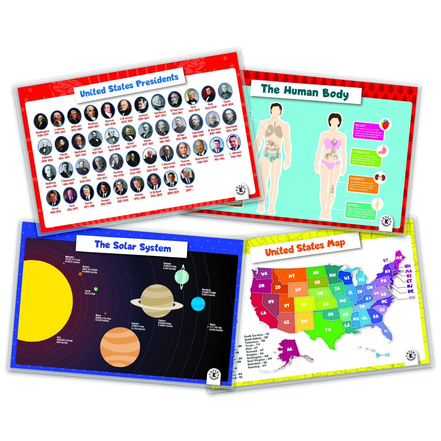 Placemats for Kids Children Educational, Learning and Teaching Fun - 4 Pack Bundle Set Includes - The Human Body, The Solar Sysytem, United States Map and United States Presidents - KCPM006 by KCD