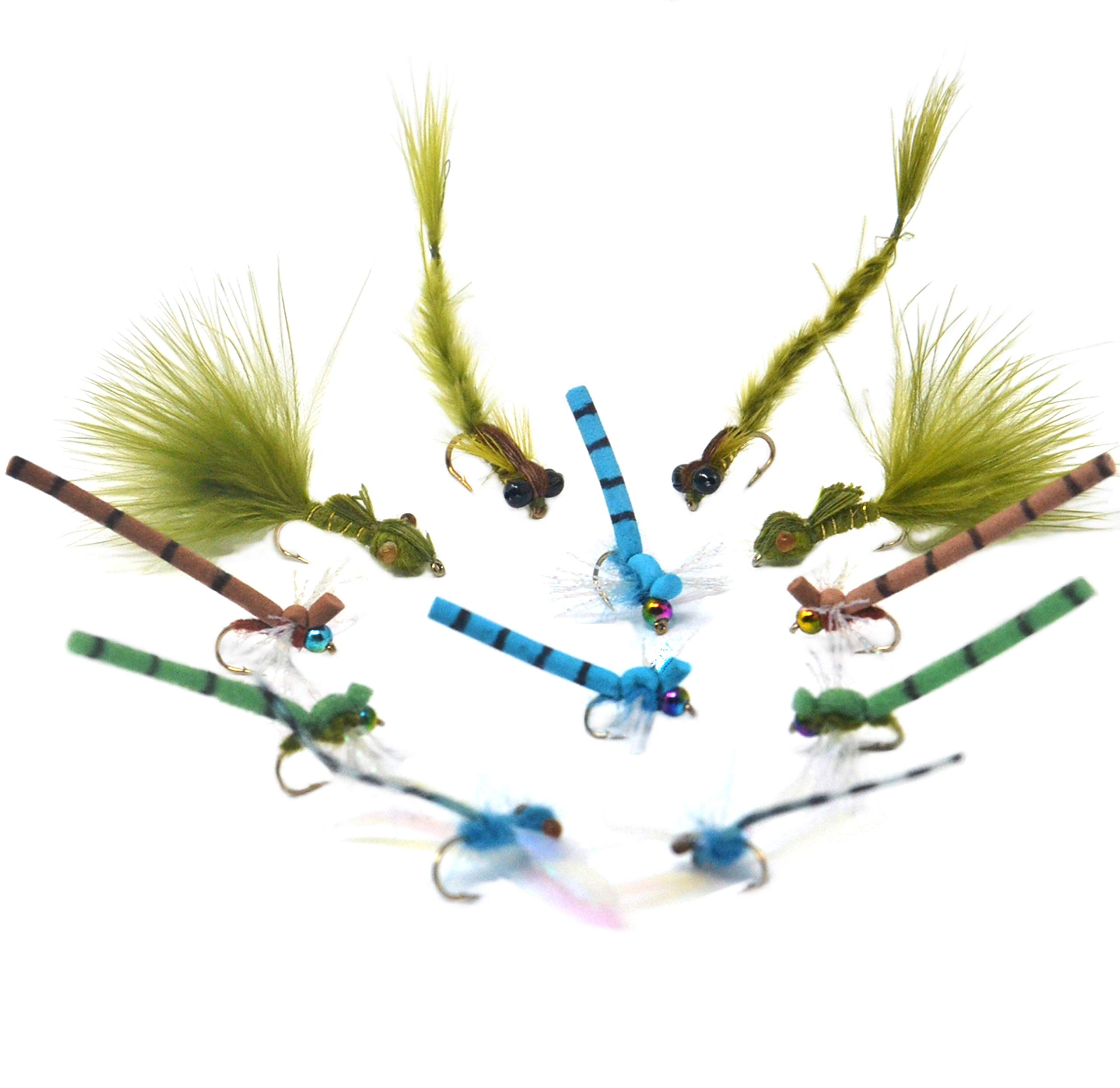 Outdoor Planet 12 Damsel Streamer Flies/Dragonflies and Damselflies/Adult Damsel/Living Damsel/Damsel Nymph/Dry Flies for Trout Fly Fishing Flies Lure Assortment by Outdoor Planet