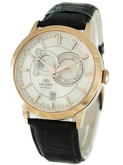 Reloj Orient Sun Mon Et0p001w Hombre Dorado