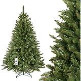 FAIRYTREES artificiale Albero di Natale ABETE ROSSO NATURALE, verde tronco, materiale PVC, incl. supporto in metallo, 180cm
