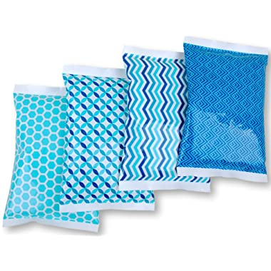 Ice Pack for Lunch Boxes - 4 Reusable Packs - Keeps Food Cold – Cool Print Bag Designs - Great for Kids or Adults Lunchbox and Cooler