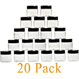 1oz Cosmetic Jars with Lids 30G / 30ml - Bulk, 1 Ounce Clear Round Jars with Screw Cap for Pills, Powders, Ointments, Makeup, etc BPA Free (Various Quantities) (20)