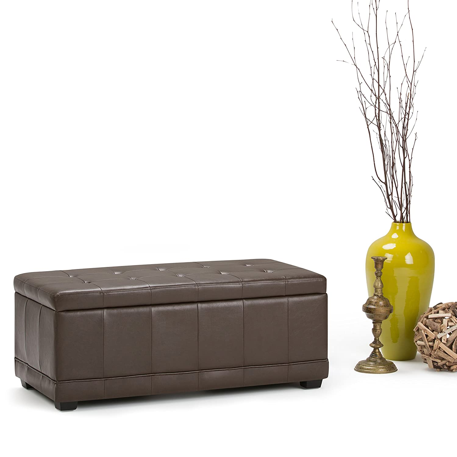 Simpli Home 3AXCOT-246-CBR Westchester 45 inch Wide Contemporary Storage Ottoman in Chocolate Brown Faux Leather
