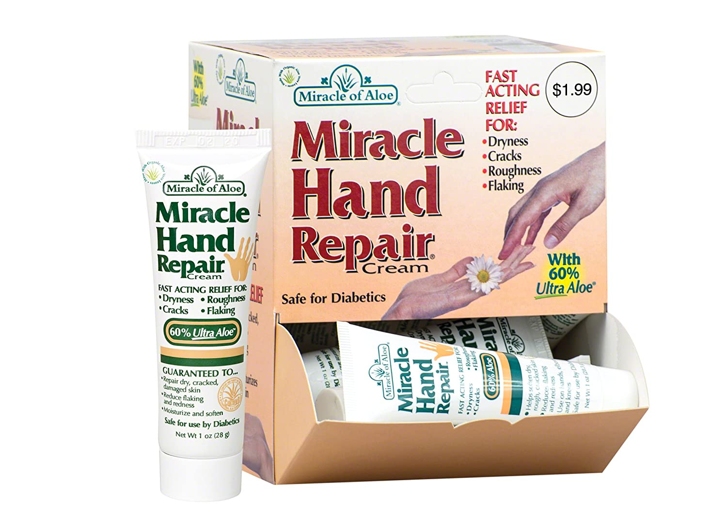 Miracle of Aloe, Miracle Hand Repair Cream with 60% UltraAloe 1 ounce tube - 12 piece display 22391