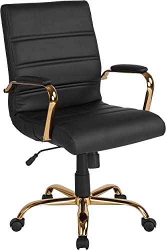 Flash Furniture Mid-Back Black Leather Executive Swivel Office Chair with Gold Frame and Arms Renewed