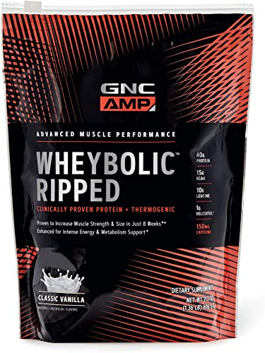 GNC AMP Wheybolic Ripped Whey Protein Powder – Classic Vanilla, 9 Servings, Contains 40g Protein and 15g BCAA Per Serving