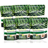 Longève Textured Pea Protein Crumbles – PLAIN – (Gluten-Free, Vegan, Soy-Free, Keto, Textured Vegetable Protein substitute) – 2oz, 6-pack