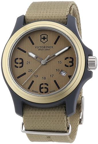 Victorinox Swiss Army - Reloj analógico de cuarzo para hombre con correa de tela, color beige: Amazon.es: Relojes